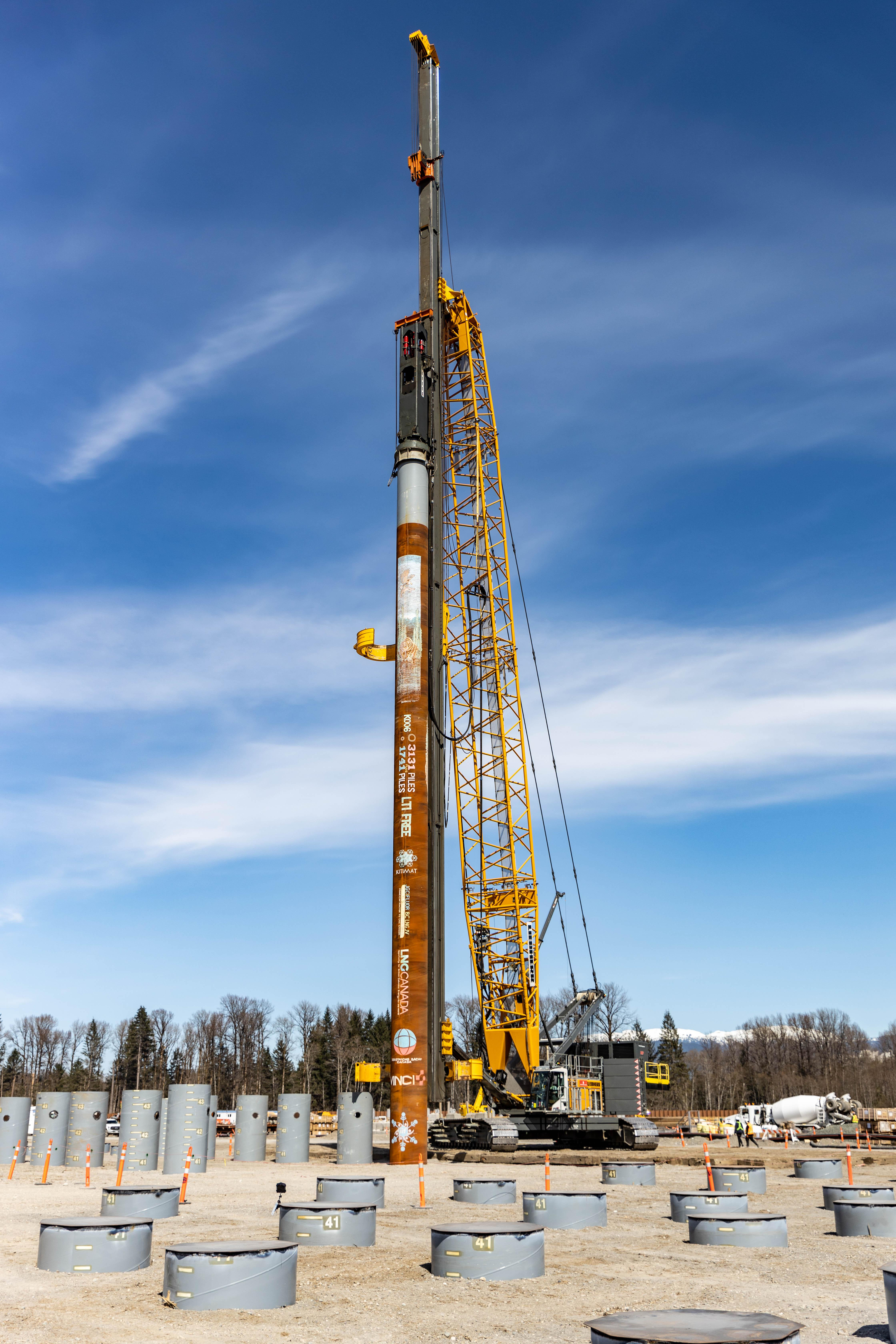 The last pile of the Phase 1 Plant Piling program at the LNG Canada site in Kitimat, B.C.
