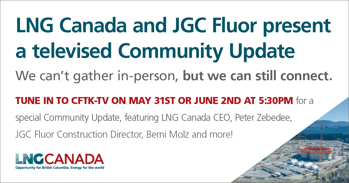 Advertisement promoting the LNG Canada Community Update