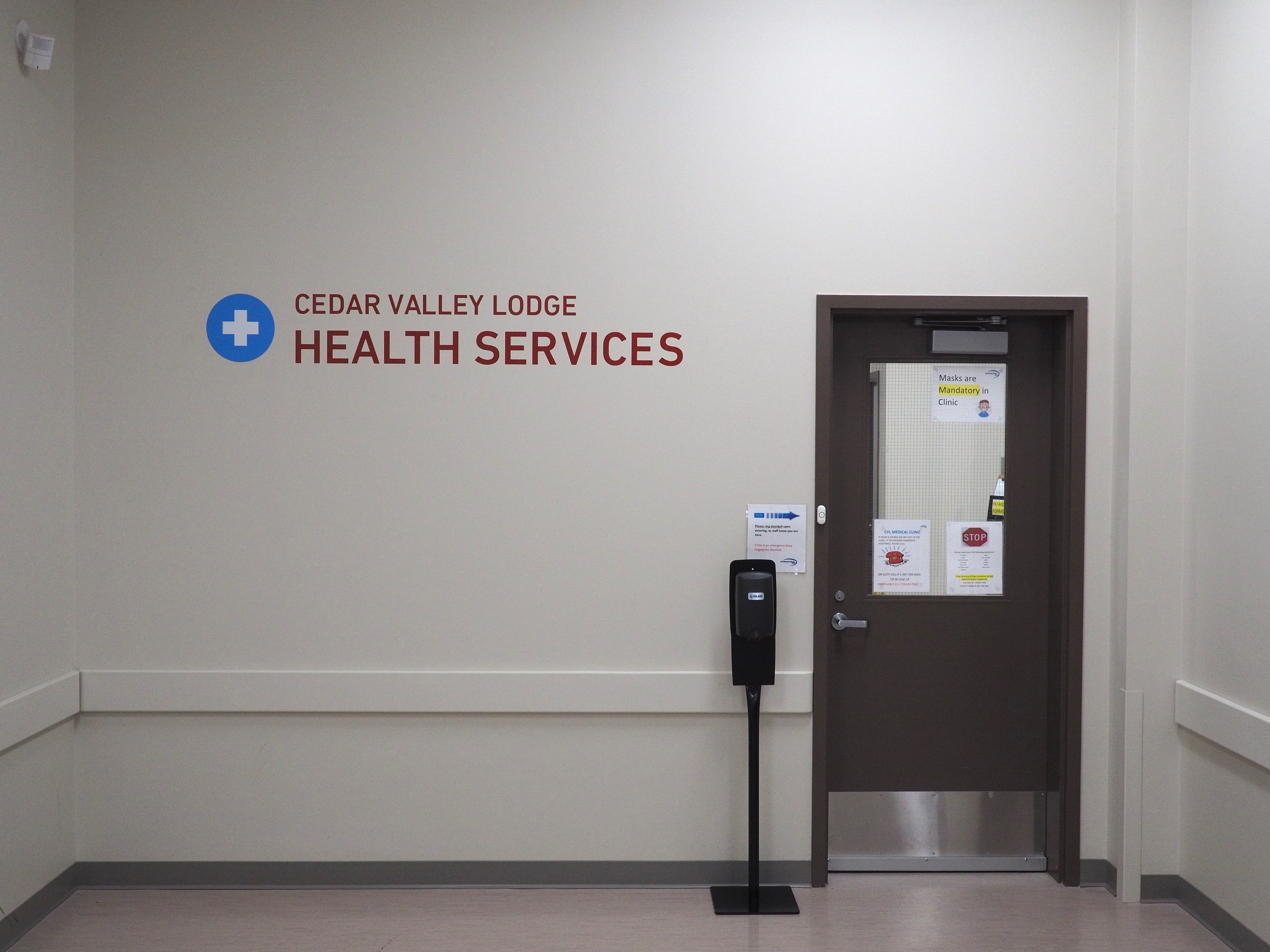 Photo of the entrance to Health Services at Cedar Valley Lodge