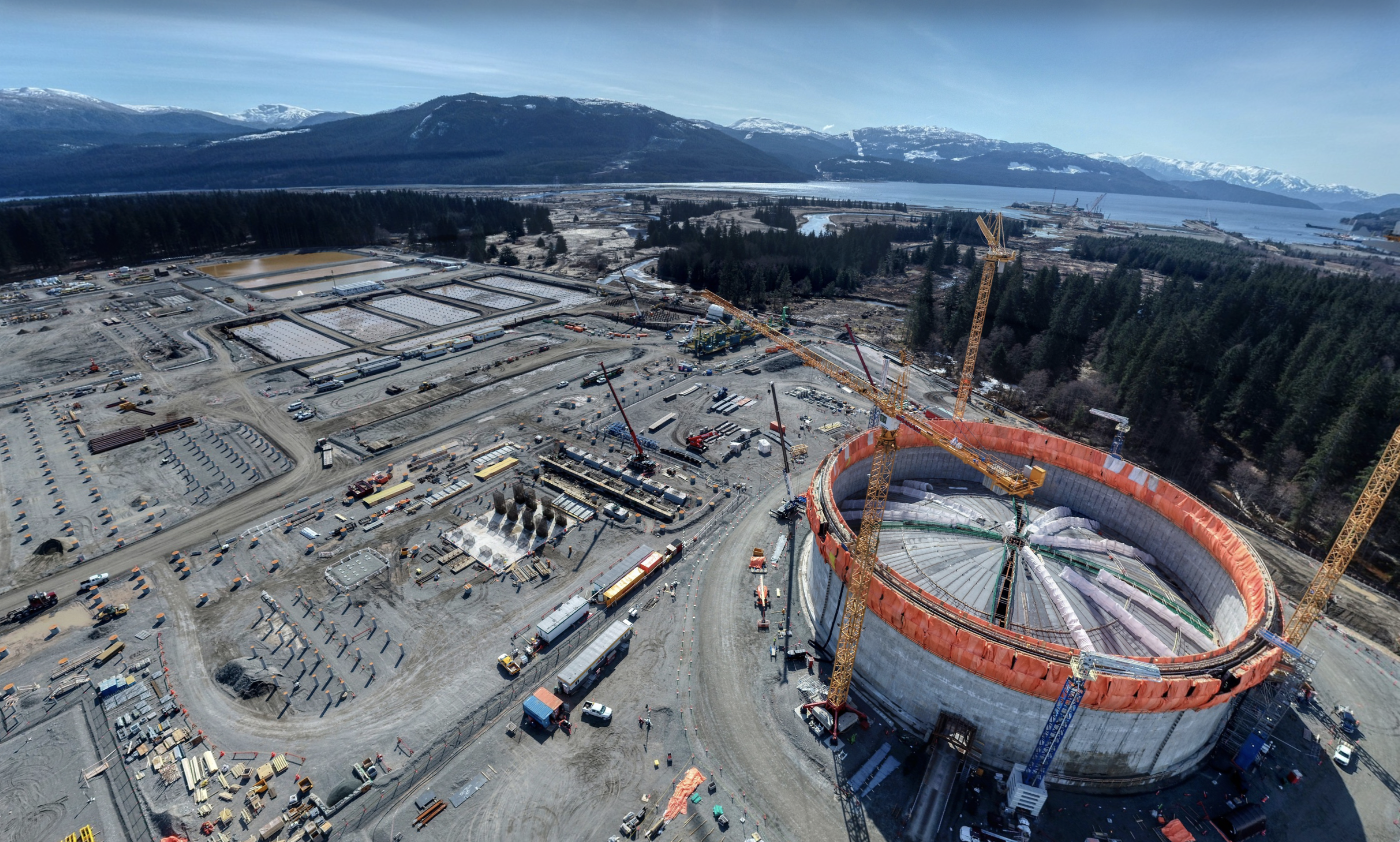 A photo of LNG storage tank construction at the LNG Canada site